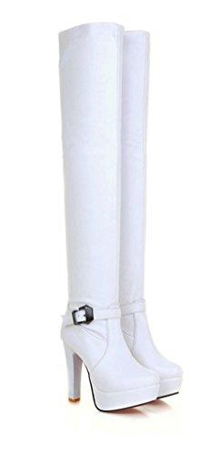 YE Damen Overknee High Heels Plateau Stiefel mit Roter Sohle 12cm Heels Absatz Schnallen Reißverschluss Winterstiefel Wasserdicht Schuhe Weiß
