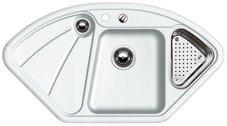 Preisvergleich Produktbild Blanco Delta Weiß Matt Einbau Keramik-Spüle Eckspüle Auflage Eckeinbau Küche