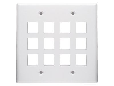 12 Port Keystone Faceplate - Dual Gang - White by Networx - Dual-faceplates