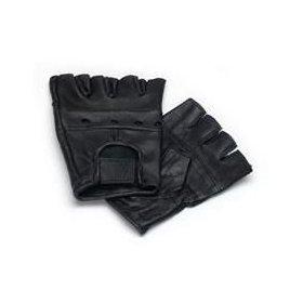 Lederhandschuhe, fingerlose Handschuhe aus Leder, Schwarz S - XXL M