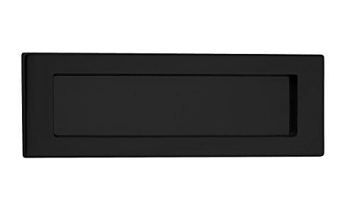 Briefeinwurf-Klappe Antik Zeitungsklappe Messing schwarz matt Postschlitz 5003 für Haustüren & Wohnungseingangstüren | Tür Einwurfklappe aus echt Messing | 280 x 90 mm | Baubeschläge von GedoTec® -