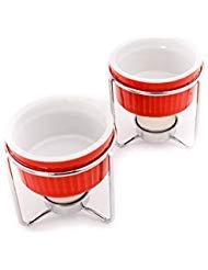 Crabaholik 2-teiliges Butterwärmer-Set aus Keramik - Premium Qualität rot Fondue-Stövchen - Butterschmelzen mit stabilen Metallständern - spülmaschinenfest - edles Design - originelle Geschenkidee - Fondue Dip-sauce