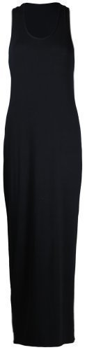 Purple Hanger - Damen Maxi Kleid U-Ausschnitt Trikot Racerback Ärmelloses Stretch Maxi Trägerkleid - Schwarz, 48/50 (Maxi-kleid Stretch)
