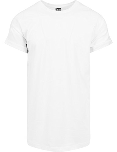 Urban White Shirt (Urban Classics TB1561 Herren T-Shirt Long Shaped Turnup Tee Weiß (White 220), X-Large)