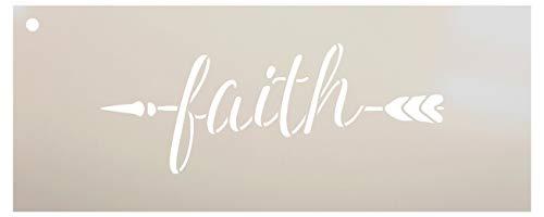 """Arrow Faith Schablone von StudioR12, wiederverwendbare Mylar-Schablone, zum Bemalen von Holzschildern - Paletten - Kissen - Heimdekoration - Größe wählbar 10\"""" x 4\"""""""