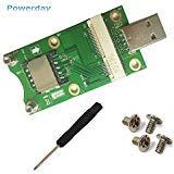powerday® Mini PCI-E zu USB-Adapter mit Sim-Karten Slot für WWAN/LTE Modul