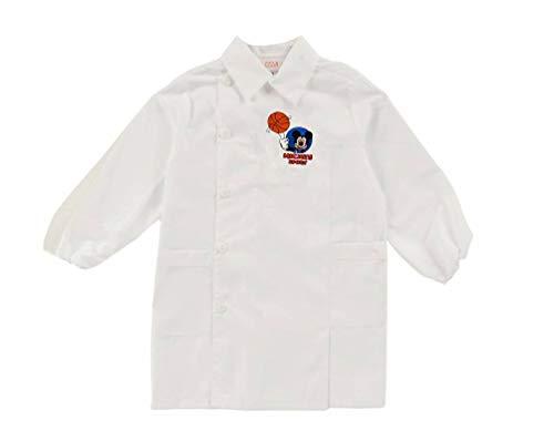 Di-sney grembiule asilo bianco mickey sport topolino scuola bambino basket pallone bimbo (tg. 50-3 anni - 98 cm)
