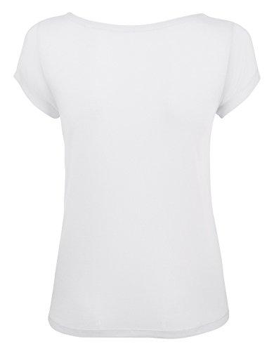 YTWOO Damen T-Shirt Aus 100% Modal, Damen Shirt mit U-Ausschnitt, Leichtes Damen T-Shirt Aus Naturfasern, Zellolusefaser Weiß