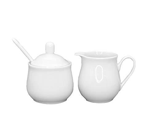 meindekoartikel Tisch-Set Milchkännchen und Zuckerdose aus Porzellan weiß -