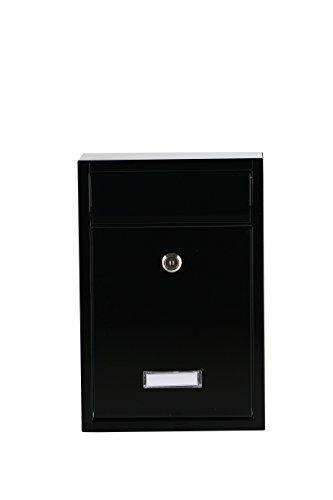 2 Schl/üssel inkl Briefkasten Schwarz Mailbox Briefkastenanlage Postkasten Stahl Namensschild witterungsfest abschlie/ßbar