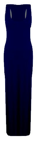 Women Ladies Vest Racer Muscle Back Jersey Long Summer Maxi Dress Plus Size 8-18 (10, Navy)