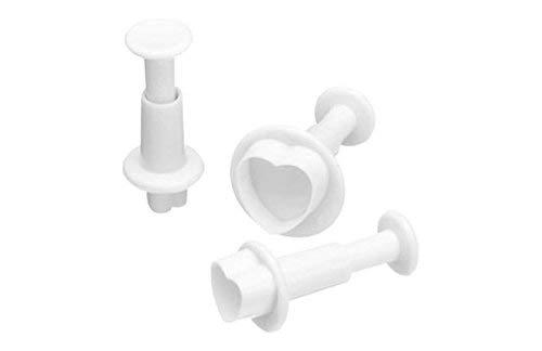 SWEETLY DOES IT Fondant-Ausstecher Herzen aus Kunststoff in weiß 3-teilig, 12 x 17 x 22 cm (Herz Ausstecher Set)