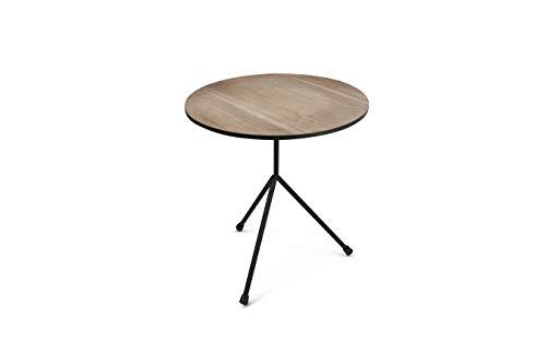 LIFA LIVING Designer Beistelltisch aus schwarzem Metall & Einer MDF Holzplatte   vielseitig einsetzbarer Kaffetisch   Ø40 x 45 cm