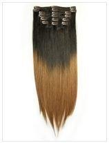 Clip-In Extensions Haarverlängerung glatt - Echthaar - Dip Dye Dunkelbraun/Rotblond - T4/27 (Dip Dye-trend)