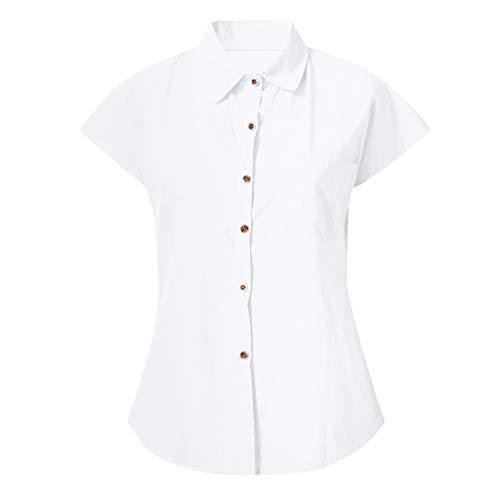 Damenmode-Blusen,Lässige-Solide-Kurze Ärmel-Knopf-Baumwolle-Blusen,T-Shirt-Aus-Baumwolle-Und-Leinen,Lässige-Bluse-Top-T-Shirt-In-Übergröße,Komplette Größe-und-Farbvielfalt