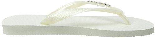 Havaianas Logo Metallic, Sandales Plateforme femme Blanc perle