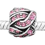 Argent Antique Design Boule à tricoter strass rose pour bracelets style Pandora Bracelets
