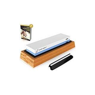 SharpPebble Schleifstein 2-in-1 Messerschärfer Schleifstein-Set 1000/6000   Wasser Abziehstein auf rutschfestem Bambusblock mit gratis Ebook-Anleitung   Schonendes Schleifen mit Wasserschleifstein