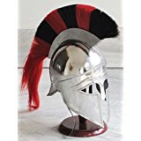 Shiv Shakti Enterprises Medieval Greek Corinthian Helmet Red Black Plume Spartan Armor Free Wooden Stand by Shiv Shakti Enterprises