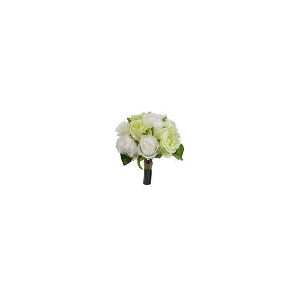 Fs – Ramillete de rosas artificiales, 26 cm, color marfil y verde, con 10 cabezas de flores y tallos