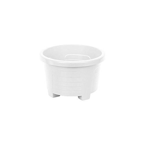 Lot de 10 Muza rond cache pots en plastique, dametre: 18 cm, en blanc