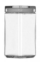 Anchor Hocking 85589R 2 Litre Stackable Square Clear Glass Storage Jar - Square Storage Jar