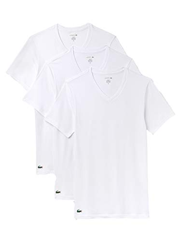 Lacoste V-Neck T-Shirt 3er Pack Slim Fit Weiss, M