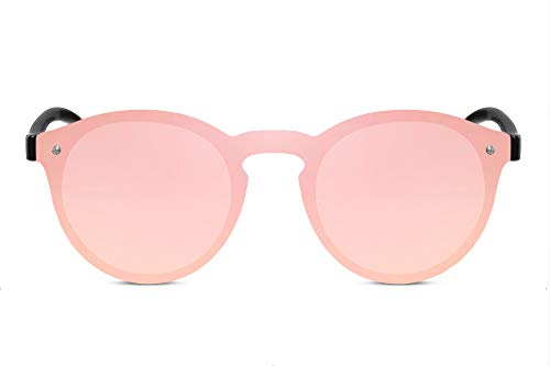 Cheapass Rund-e Sonnenbrille Verspiegelt Pink Rosé-Gold UV-400 Durchgehende Linse Flat-Miror Flach Plastik Damen Herren