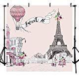 rund, 16 Fotos, Aufschrift Happy 16th Birthday, Party-Spruchband Paris, Eiffelturm, Blumen, Hintergrund für Fotografie, 20,3 x 2,4 m, Rosa ()