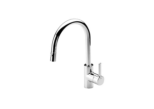 Roca A5A8160C00 – Mezclador monomando para cocina con caño extraible giratorio y función ducha para aclarado