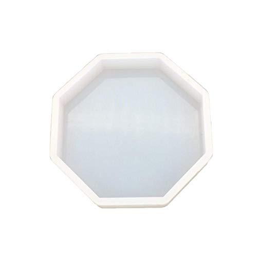 Stampo in silicone a forma di cristallo epossidico a forma di tavola con specchio e candela di gipsk, per decorare auto e aromaterapia, Bianco