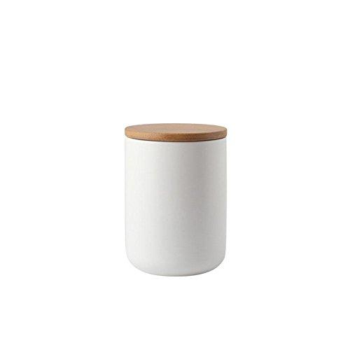 PIONIN Lebensmittel-Aufbewahrungsbehälter, keramischer Aufbewahrungsbehälter mit luftdichtem Siegelbambusdeckel versiegeltes Glas für Gewürze Tank Tee, Kaffeebehälter -