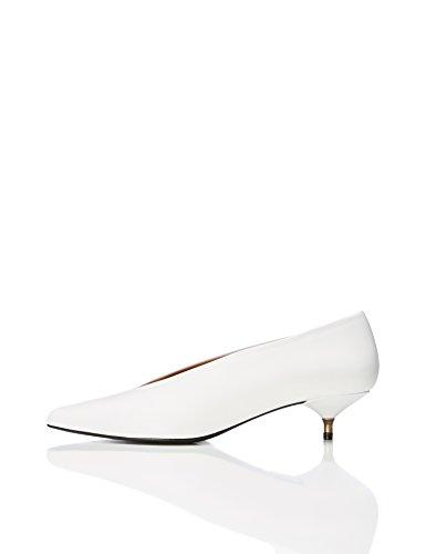 Find Mary, Zapatos de Piel con Tacón Kitten Mujer, Blanco (White), 40 EU