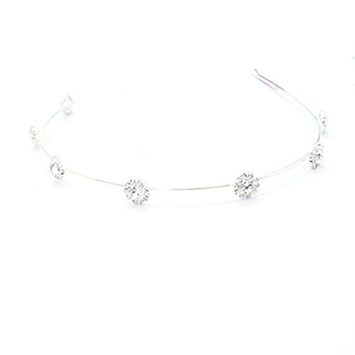 Headbands Hairbands for Women Baby Girls Tiara Alice Sparkling Silver Diamante Rhinestones by Trimming Shop