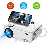 """T TOPVISION 2400Lux Mini Projector with Synchronize Smart Phone Screen, Supported 1080P, 176"""" Display, 50000 Hours LED, Compatible with FireTV Stick/HDMI/VGA/USB/TV/Box/Laptop/DVD"""