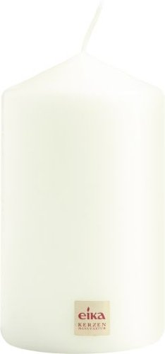 Eika Pillar Candle, Paraffin Wax, White, 8 x 14 cm