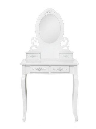 Toilette bianca in legno con specchio e cassetti con fregi stile vintage L'ARTE DI NACCHI GG-55