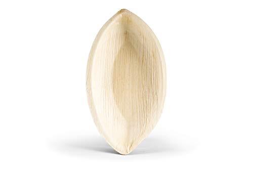 Leef® Bio Palmblattgeschirr - 300 Stück Palmblatt Schiffchen 21 x 11 x 4,5 cm - Salat-Schüssel Dipschalen Servierschale Snackschale Einwegschale