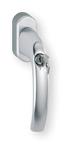 HOPPE 10763909 Fenstergriff Atlanta-Secustik m. Rast. 45°,VK 7 x 32-42 mm, Silber