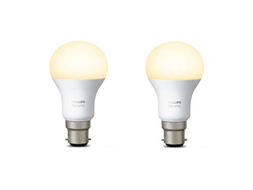 Philips Hue White Personal Wireless Lighting LED B22  Twin Pack Bayonet Cap Ligth Bulbs , 2 x 9.5 W Bayonet Caps [Apple Homekit Enabled], Works with Alexa