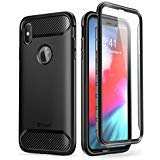 Clayco iPhone XS Max Hülle [Xenon] Ganzkörper Handyhülle Robust Case Bumper Schutzhülle Cover mit Integriertem Displayschutz für iPhone XS Max (6.5 Zoll) 2018 (Schwarz)