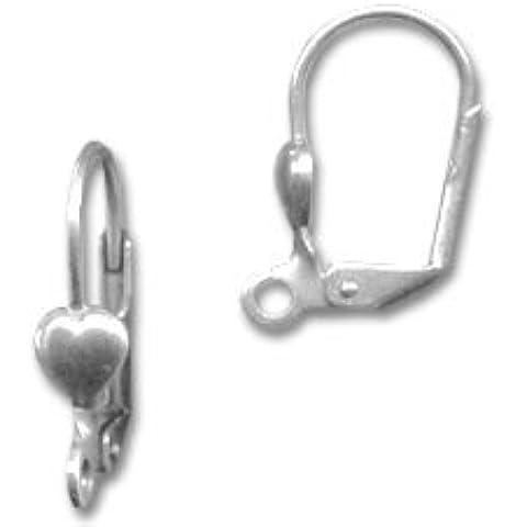 Monachelle cuore argentato antico x2
