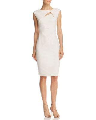 Adrianna Papell Womens Ivory Cut Out Sleeveless Knee Length Sheath Formal Dress Size: 14