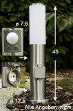 Sockellampe mit Steckdose und Bewegungsmelder aus Edelstahl