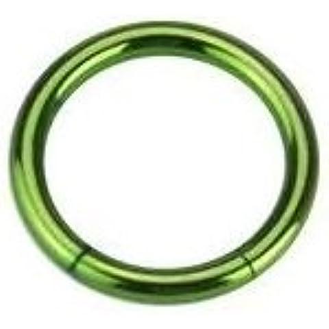 Piercing Boutique-Anello circolare, in titanio anodizzato, naso, labbra, sopracciglio (16g), 1,2 mm x 8 mm, colore: verde