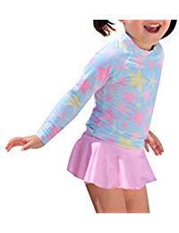 AMIYAN Kinder Mädchen Schwimmanzug Badenmode Kleinkinder Prinzessin Langarm Badeanzug UPF 50+ (Rosa, 3-4 Jahre) -