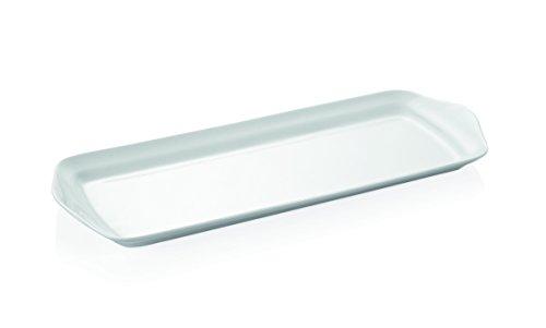 Plat rectangulaire en porcelaine Blanc Finition – avec poignées Manique (Dimensions : 37 x 14 cm)