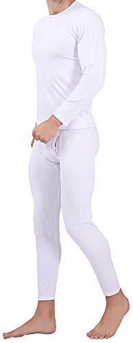 Serecofo Conjunto de Ropa Interior Térmica para Hombres ForroPolar oVellónPolar Camisa de Manga Larga Top & Calzoncillos Largos Pantalones Largos para Hombres Ultra Suave & Cálido (S, Blanco)