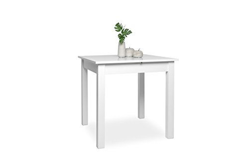 Inter Trade 2044 Table de salle à manger Extensible Bois Blanc 80 x 80 x 76,5 cm