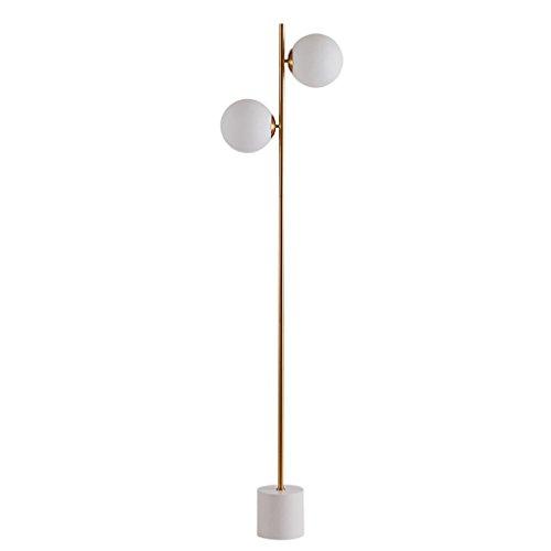 LOFAMI Einfaches Glaslampenschirm-Boden-Licht, 2 helles Metallboden-Licht für Wohnzimmer-Schlafzimmer-Lesesaal-Lernlicht, H167CM * W38CM (Messing Antik Boden Leselampen)